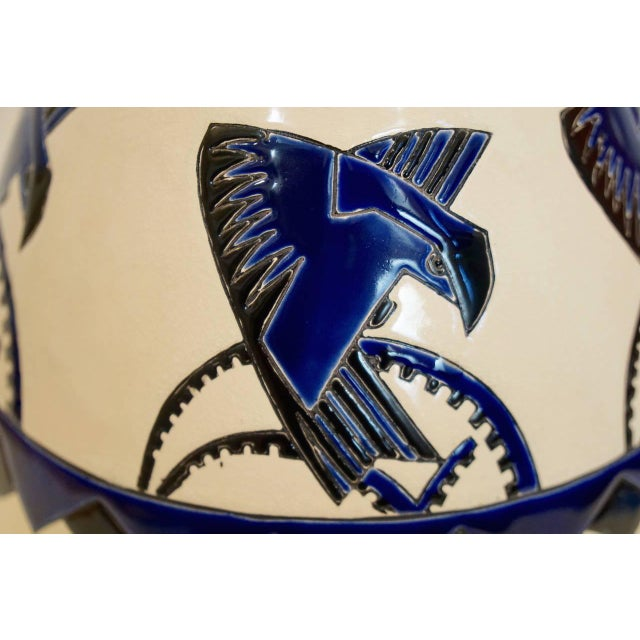 Early 20th Century Rare Cobalt and Cream Charles Catteau Vase For Sale - Image 5 of 8
