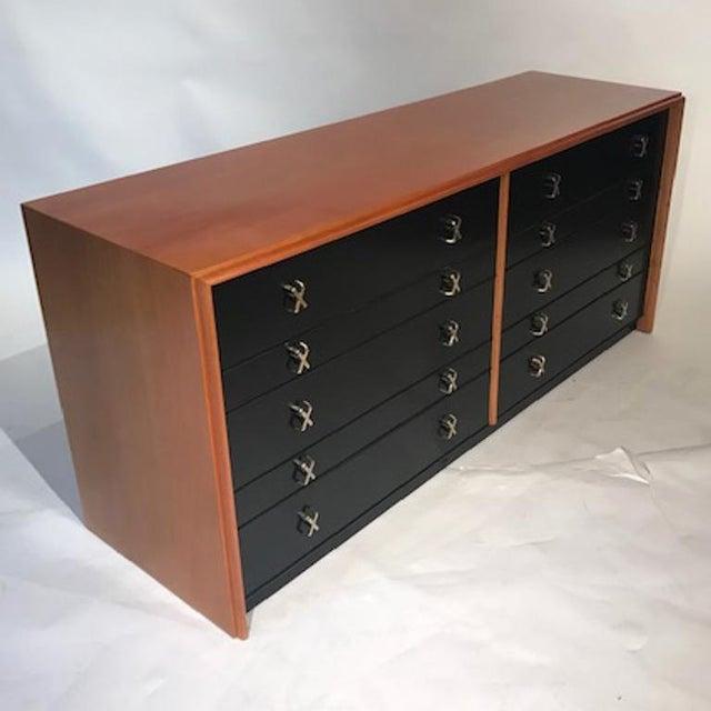 Metal Paul Frankl for Johnson Furniture John Stuart Ten Drawer X Pull Dresser Chest For Sale - Image 7 of 8