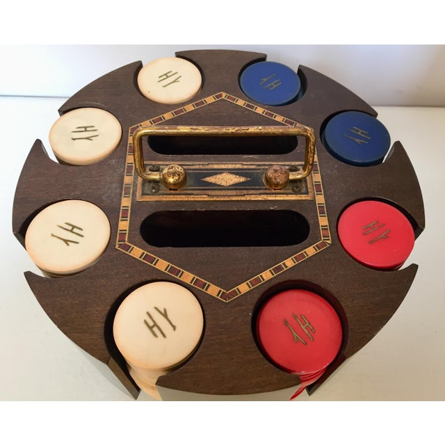 Vintage Poker Chip Carousel Wood Caddy With Cover For Sale In Los Angeles - Image 6 of 10