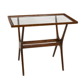 Mid-Century Italian Teak & Glass Side Table For Sale