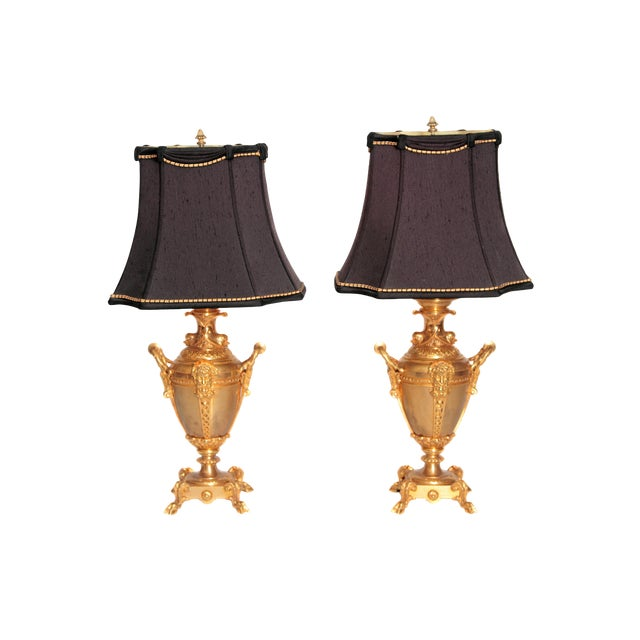 19th Century Continental Pair of Gilt Metal Vases as Lamps For Sale