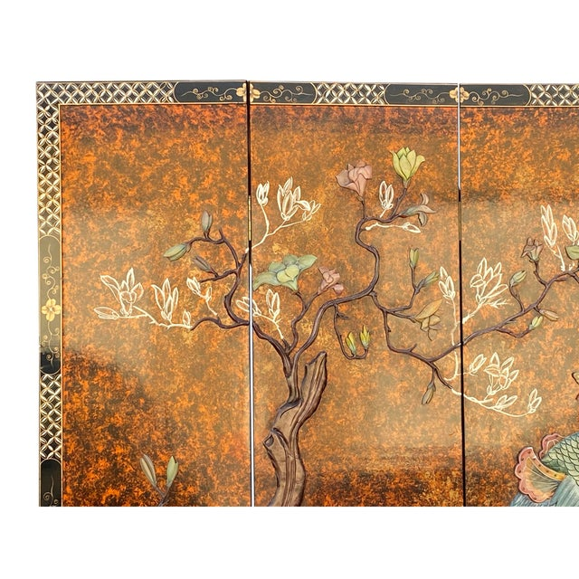 Chinoiserie Jade Color Stone Inlaid Black Lacquer Wood Floor Screen Divider For Sale - Image 3 of 11