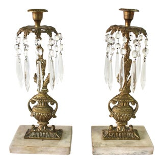 19th Century Victorian Brass Candle Holders- A Pair For Sale