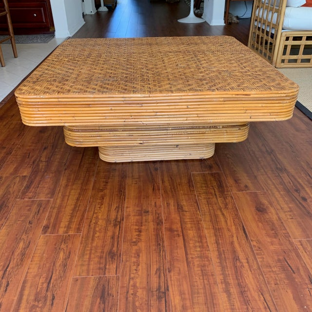 Mid-Century Pencil Reed Stacked Rattan Coffee Table For Sale - Image 10 of 10