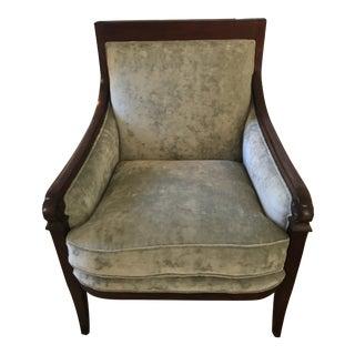 Baker Green Upholstered Armchair For Sale