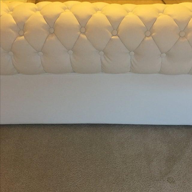 White Leather Tufted Back Sofa - Image 9 of 10