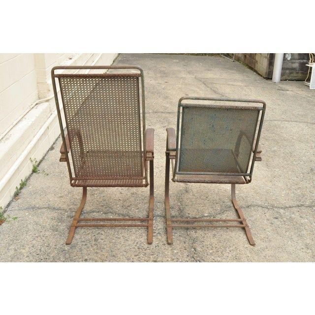 Metal Vintage Steel Metal Mesh His and Hers Patio Bouncer Lounge Chairs - a Pair For Sale - Image 7 of 12