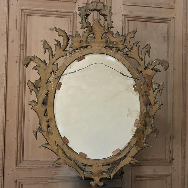 Antique Italian Baroque Carved Wood Gilded Mirror For Sale - Image 10 of 11