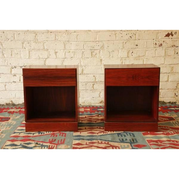 Danish Modern Rosewood Nightstands - Pair - Image 2 of 6