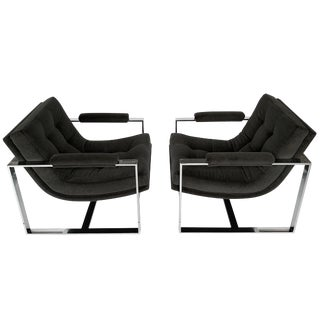 Milo Baughman Chrome Scoop Lounge Chairs - A Pair For Sale