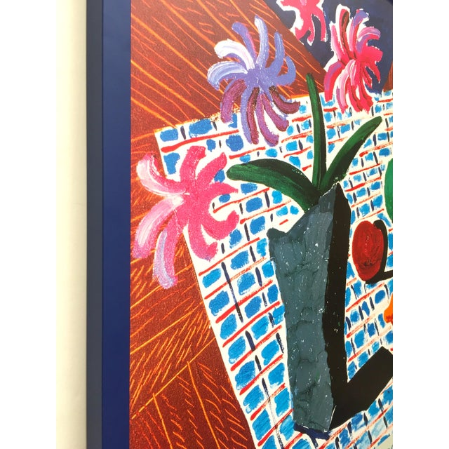 "1980s David Hockney Rare Vintage 1988 Lithograph Print Framed Metropolitan Museum Exhibition Poster "" Still Life With Flowers "" 1987 For Sale - Image 5 of 13"