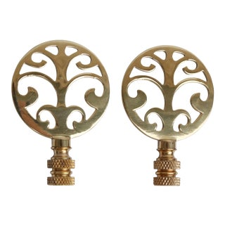 Tree of Life Brass Lamp Finials - a Pair For Sale