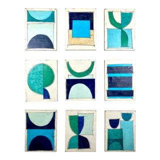"Encaustic Collage Installation ""Midnight Swim"" by Gina Cochran - 16 Panels For Sale"