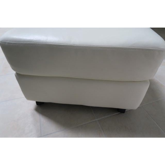 Art Deco White Leather Chair & Ottoman - 2 Pieces For Sale In New York - Image 6 of 10