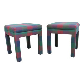 Modern Plaid Parsons Stools- a Pair For Sale