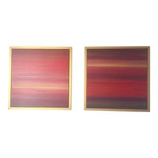 Pair of Sunrise and Sunset Original Karen Adams Paintings For Sale