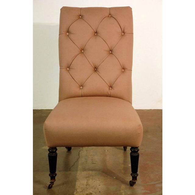 Fruitwood Chic Napoleon III Tufted Chauffeuse For Sale - Image 7 of 8