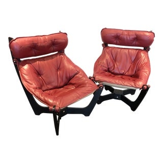 """1970s Vintage High Back """"Luna"""" Sling Lounge Chairs- a Pair For Sale"""