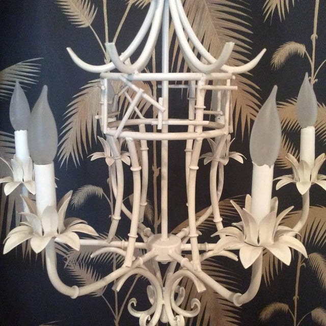 Vintage Faux Bamboo Metal Pagoda Chandelier For Sale - Image 5 of 9