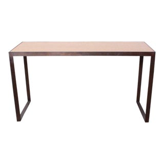 Bronze and Oak Console Table by Dunbar For Sale