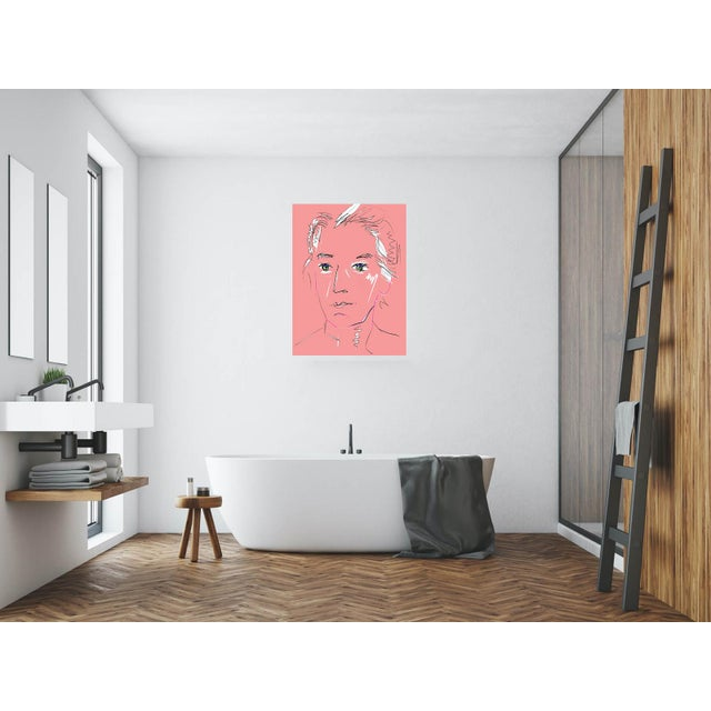 """""""Pink Lady"""" by Trixie Pitts Original Print on Heavy Paper For Sale - Image 11 of 13"""