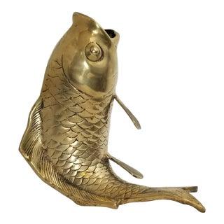 1960s Vintage Solid Brass Life Size Koi Fish Vase Sculpture For Sale