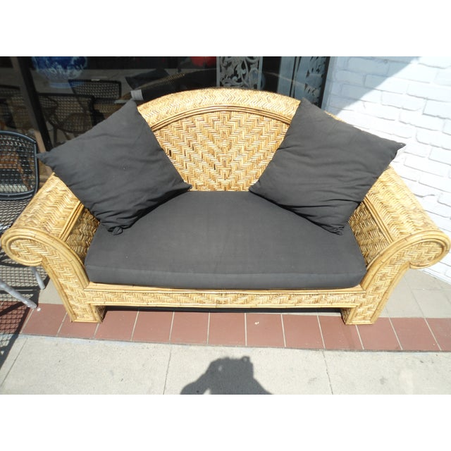 Wicker Frame & Black Cushions Outdoor Sofa - Image 3 of 6
