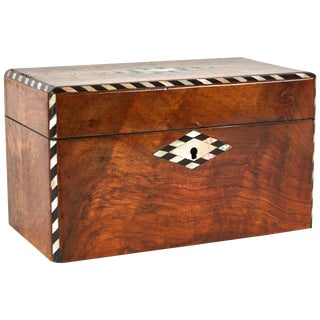 19th Century English Inlaid Tea Caddy With Burl Wood and Walnut For Sale