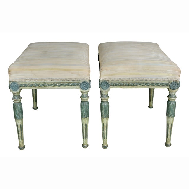 Green Swedish Neoclassic Painted Benches - a Pair For Sale - Image 8 of 11