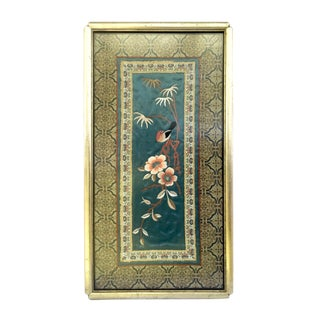 Vintage Chinese Chinoiserie Silk Embroidery Bird Wall Panel Floral Tapestry For Sale