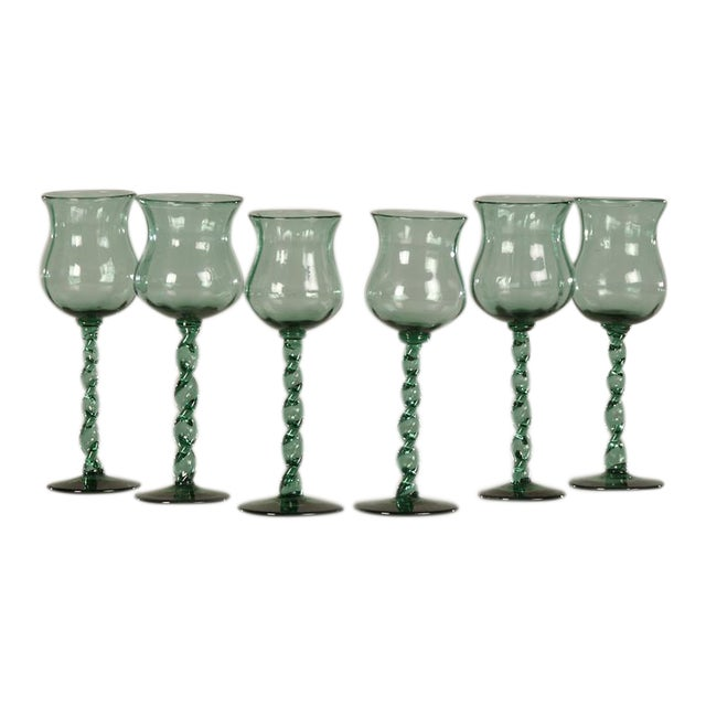 19th Century French Tall Hand Blown Glass Drinking Vessels - Set of 6 For Sale