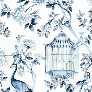 Schumacher Oiseaux Et Fleurs Wallpaper in Porcelain For Sale