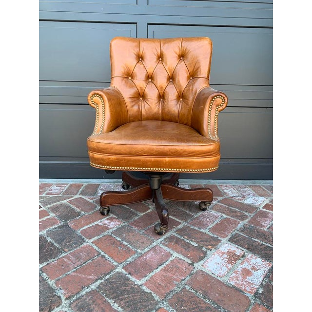 Tan Late 20th Century Retro Tufted Leather Desk Chair For Sale - Image 8 of 8