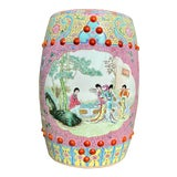 Image of Vintage Mid-Century Chinese Famille Rose Porcelain Garden Seat For Sale