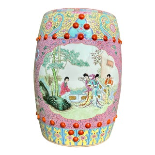 Vintage Mid-Century Chinese Famille Rose Porcelain Garden Seat For Sale