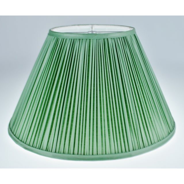 Vintage Green Pleated Fabric Lined Coolie Style Lamp Shade For Sale - Image 13 of 13
