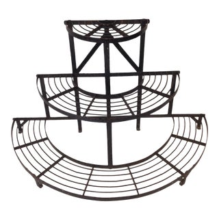 Tiered, Half-Round, Iron Plant Stand For Sale