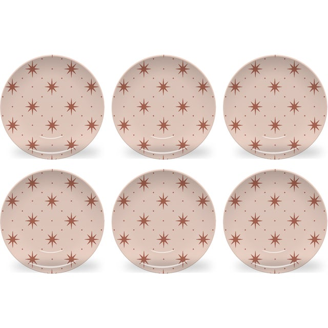 Chairish x The Muddy Dog Stars Outdoor Plates, Blush, Set of 6 For Sale - Image 4 of 4