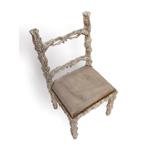 Set of Six Carved White Painted Wooden Chairs With a Faux Tree Trunk Design For Sale - Image 4 of 5