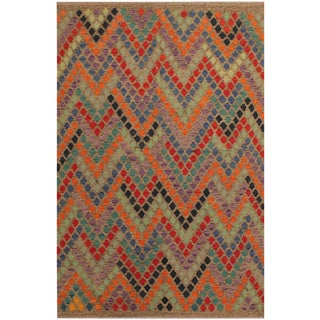 Lani Gray/Blue Hand-Woven Kilim Wool Rug -5'9 X 7'11 For Sale