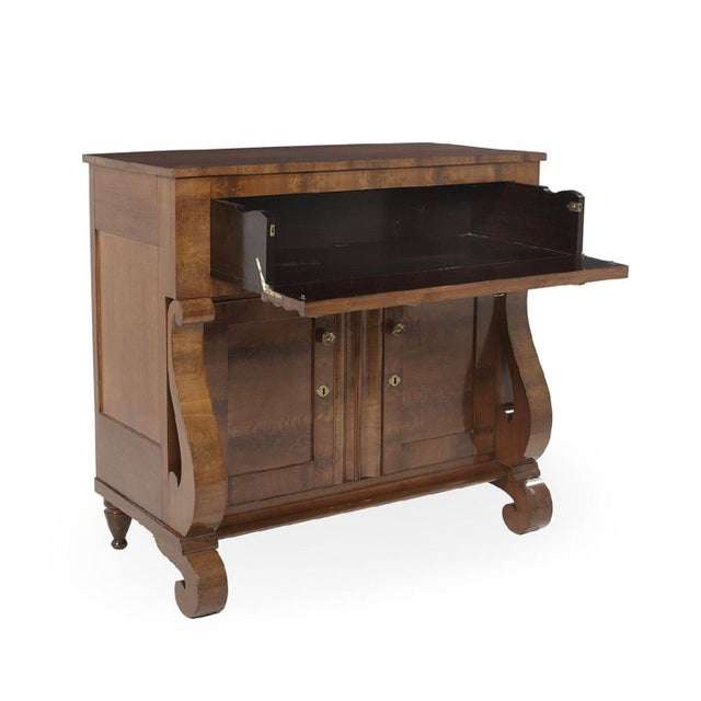 Mid 1800s, American classical period, empire style. ( Server, sideboard, chest, butlers desk ) Top 2 faux moulded panel...
