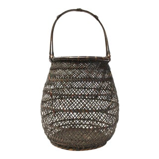 Chikuyosai Finely Woven Japanese Flower Basket For Sale
