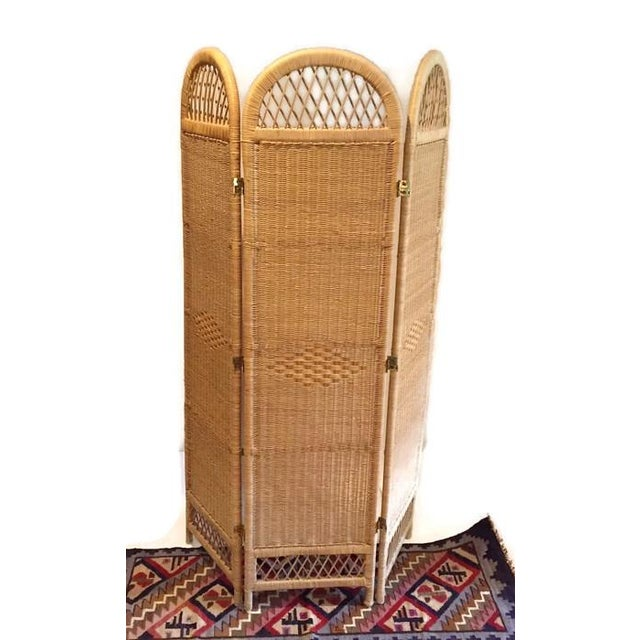 Vintage Wicker Rattan Folding Screen Room Divider - Image 3 of 7