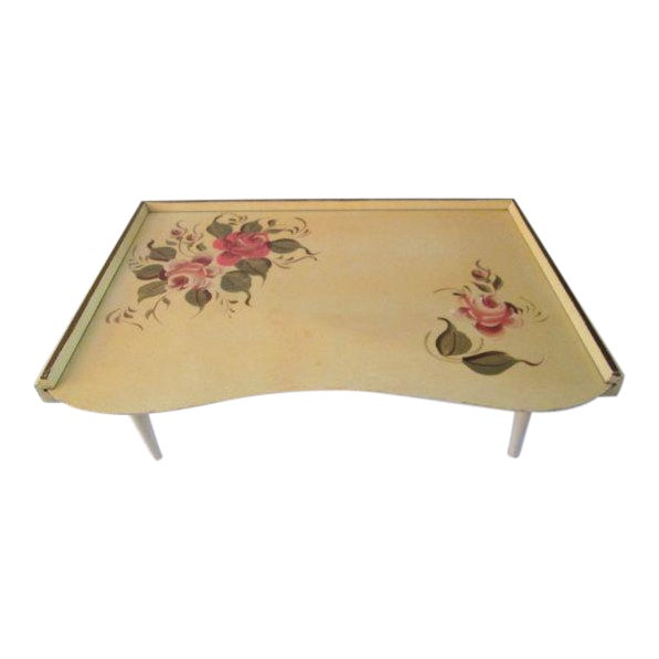 Vintage Tole Yellow & Rose Breakfast Tray - Image 1 of 6
