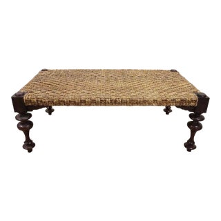 British Colonial Style Seagrass Bench / Table For Sale