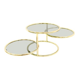 Vintage Milo Baughman for Design Institute of America Mid-Century Modern Brass and Glass 3 Tier Circular Side Table For Sale