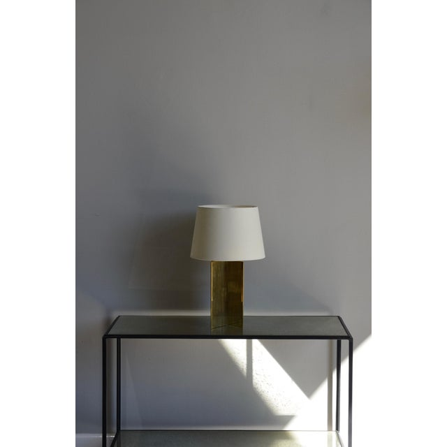 "Brass Contemporary ""Croissillon"" Polished Brass and Parchment Table Lamp For Sale - Image 7 of 8"
