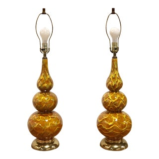 Orange Glazed Glass Drip Lamps For Sale