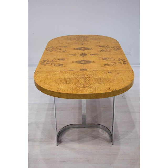 Expandable Burl Wood Dining Table by Milo Baughman for Lane Furniture For Sale In Chicago - Image 6 of 9