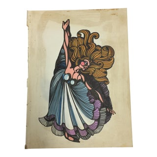 1980s Vintage Dancing Woman Ink Drawing For Sale